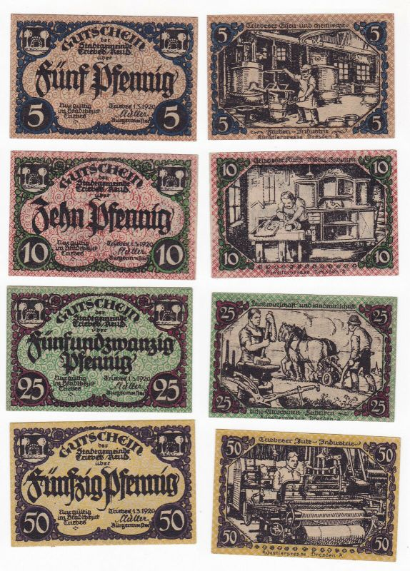 5, 10, 25 & 50 Pfennig Banknoten Notgeld Stadt Triebes 1920 (129957)