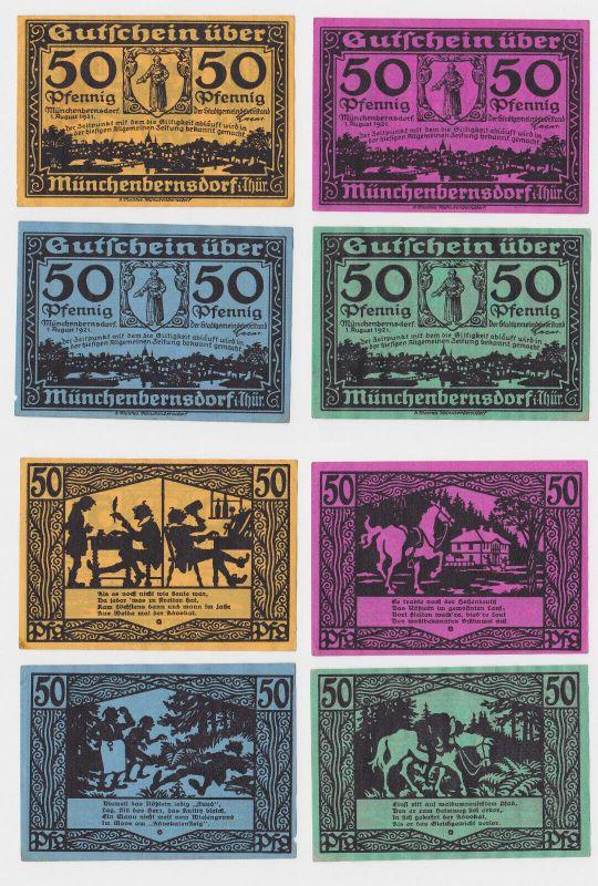 4 Banknoten Notgeld Gemeinde Münchenbernsdorf 1921 (123411)