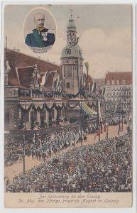70293 AK Zur Erinnerung an den Einzug des König Friedrich August in Leipzig 1905
