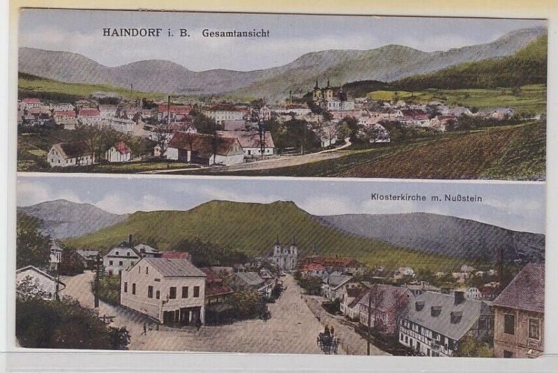 42795 AK Haindorf in Böhmen - Klosterkirche mit Nußstein & Gesamtansicht 1920