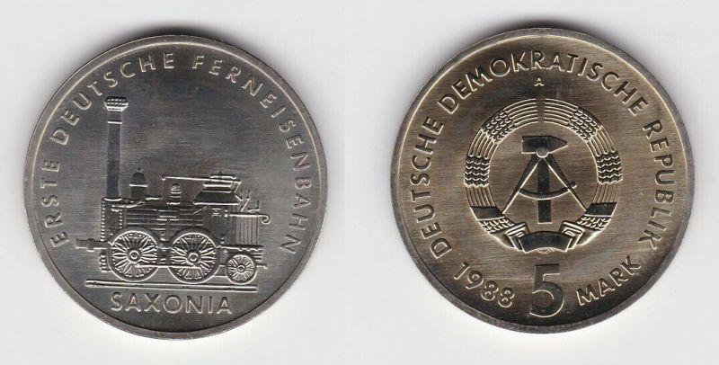 DDR Gedenk Münze 5 Mark erste deutsche Ferneisenbahn Saxonia 1988 Stgl. (121122)