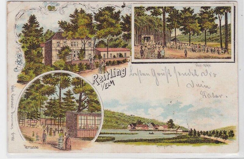 73170 Lithografie AK Reitling im Elm - Voss-Höhle, Terrasse & Teichpartie 1901
