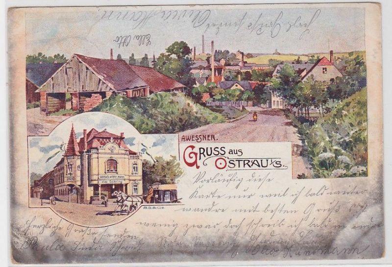 92172 Ak Lithographie Gruß aus Ostrau i.S. Gasthof zum wilden Mann 1901