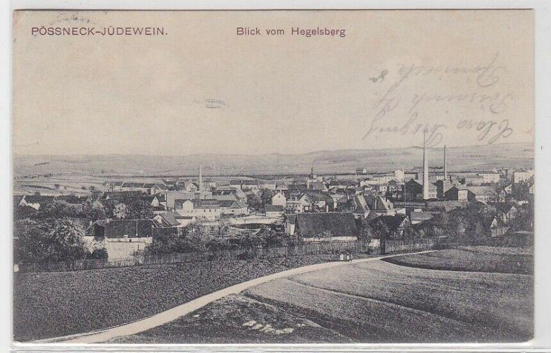 70034 AK Pössneck-Jüdewein - Blick vom Hegelsberg 1909