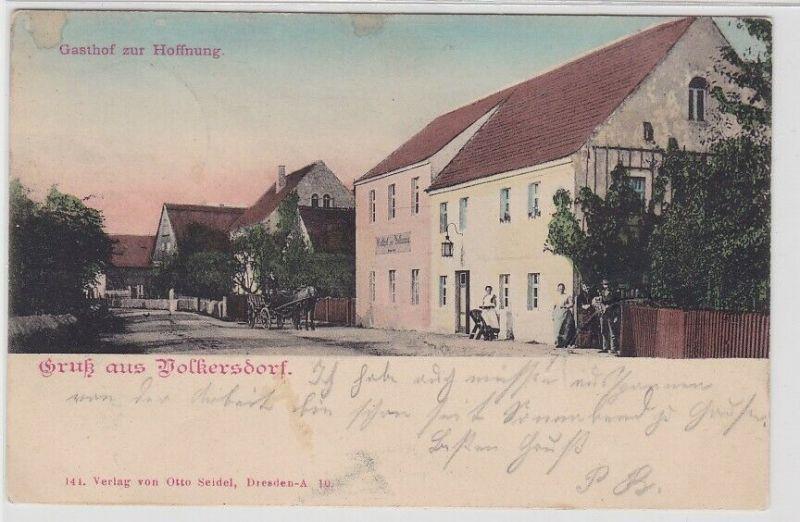 89434 AK Gruß aus Volkersdorf - Gasthof zur Hoffnung 1907