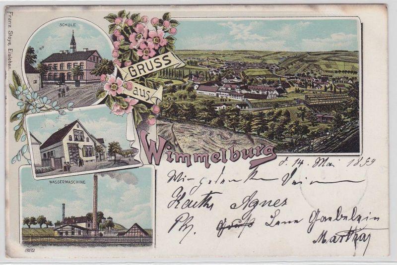 91837 Ak Lithographie Gruß aus Wimmelburg Wassermachine, Schule usw. 1899