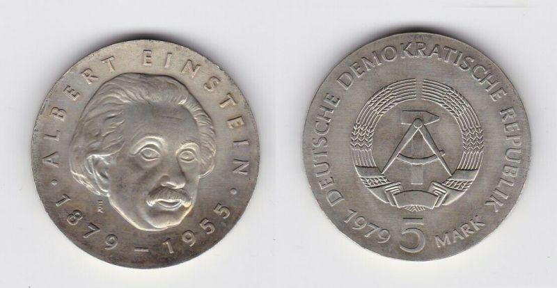 DDR Gedenk Münze 5 Mark Albert Einstein 1979 Silber Stempelglanz (125084)