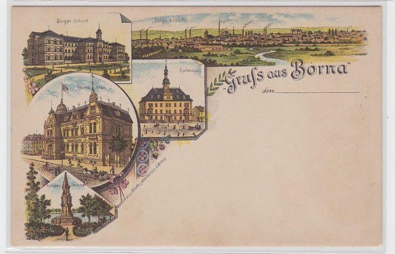 89203 Ak Lithographie Gruß aus Borna Reichspost, Bürgerschule usw. um 1900
