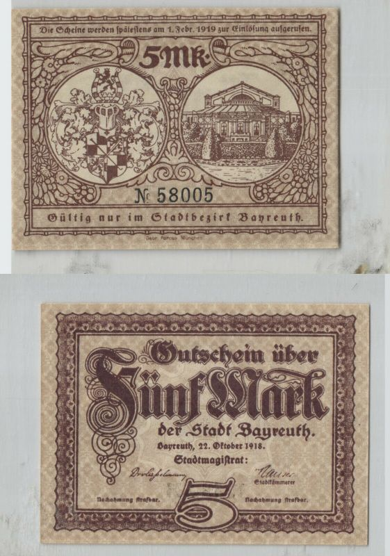 5 Mark Banknote Notgeld Stadt Bayreuth 27.Oktober 1918 (129225)