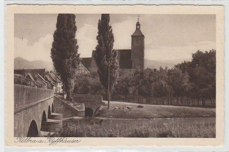 69111 Ak Kelbra am Kyffhäuser Brücke und Kirche um 1930