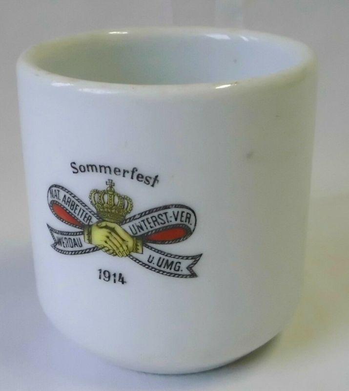 Seltene Porzellan Tasse Sommerfest Arbeiter Unterst. Verein Werdau 1914 (105158)