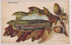 91831 Eichenblatt Präge Ak Lithographie Melsungen Totalansicht um 1900