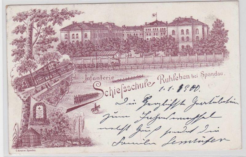 91722 Ak Lithographie Infanterie Schießschule Ruhleben bei Spandau 1900