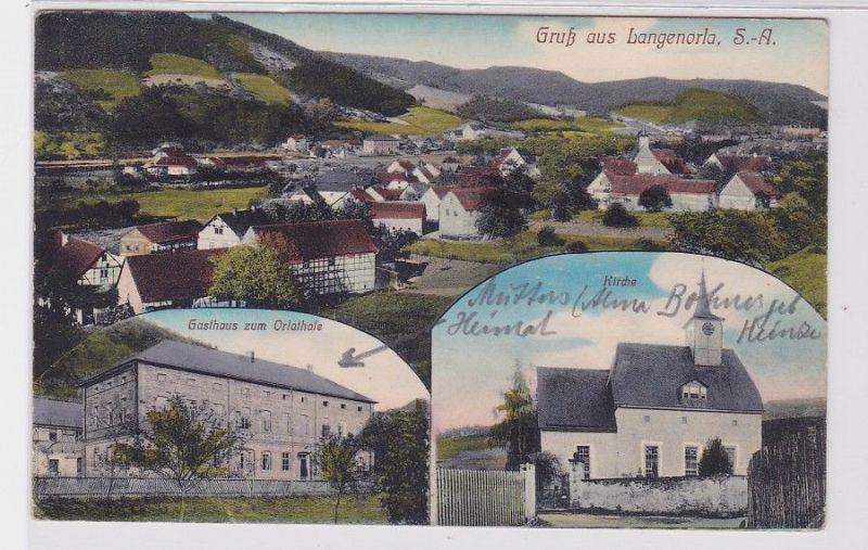 83903 Mehrbild Ak Gruß aus Langenorla S.-A. Gasthaus, Kirche 1911