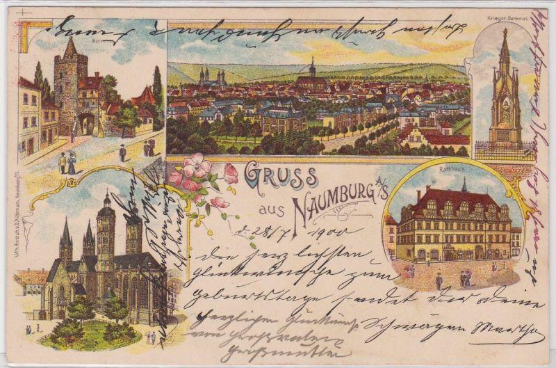 91682 Ak Lithographie Gruß aus Naumburg an der Saale 1900