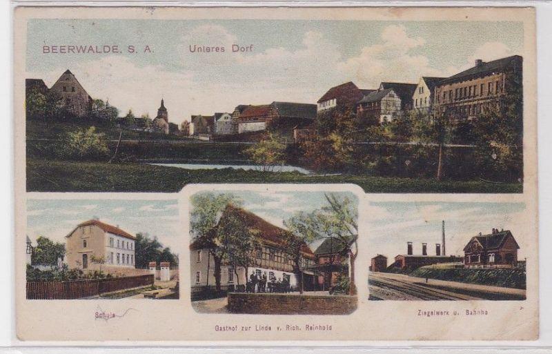 67881 Mehrbild Ak Beerwalde S.-A. Schule, Gasthof, Ziegelwerk, Bahnhof 1913