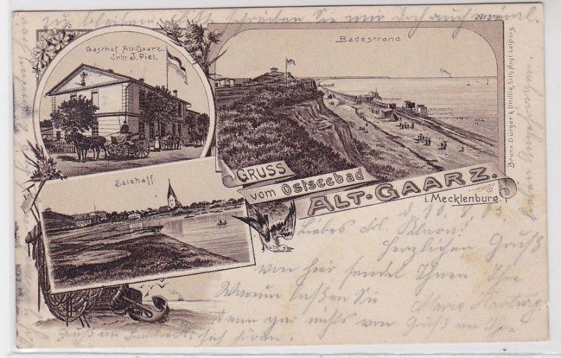 88234 Ak Lithographie Gruß vom Ostseebad Alt-Gaarz Mecklenburg 1903