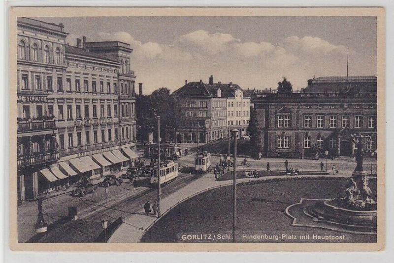 75360 AK Görlitz/Schlesien - Hindenburg-Platz mit Hauptpost 1943