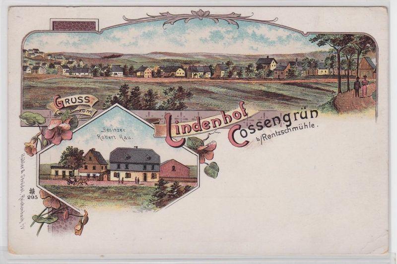 92182 Ak Lithographie Gruß vom Lindenhof Cossengrün bei Rentzschmühle um 1900
