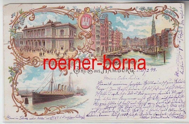 73555 Ak Lithografie Gruss aus Hamburg Börse, Reimersbrücke, Schnelldampfer 1899