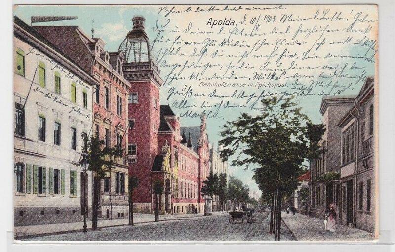 85830 AK Apolda - Bahnhofstrasse mit Reichspost 1903