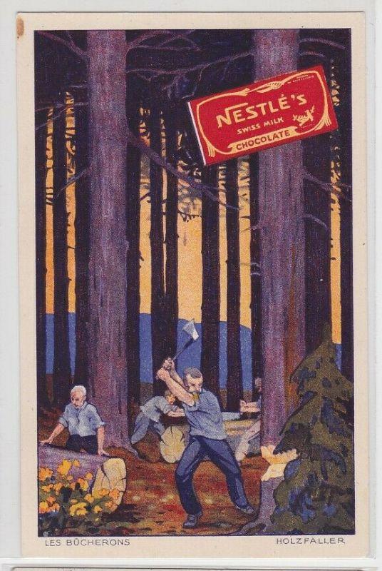 90718 Reklame AK Les Bucherons (Holzfäller) - Nestlé's Chocolat au Lait 1929
