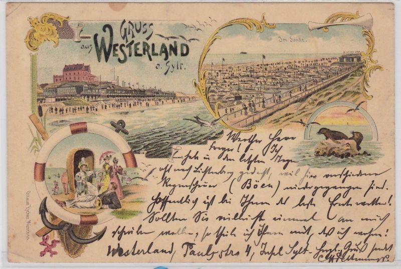 92309 Ak Lithographie Gruß aus Westerland auf Sylt 1897