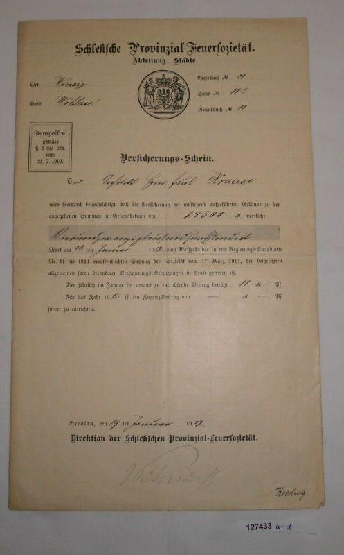24500 Mark Versicherungsschein Schlesische Provinzial-Feuersozietät 1912 /127433