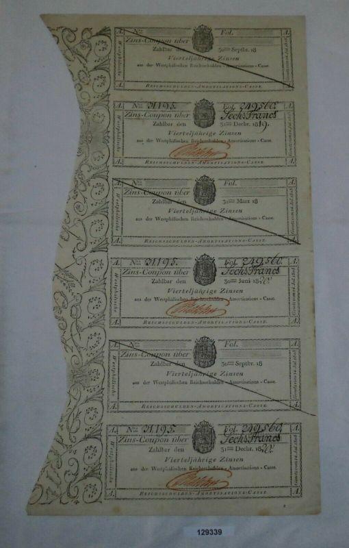 6 Franc Zinsschein Westphälische Reichsschulden Amortisations-Casse 1819 /129339
