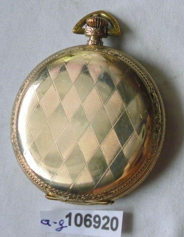 Schöne vergoldete Sprungdeckel Herren Taschenuhr G. Rau um 1920 (106920)