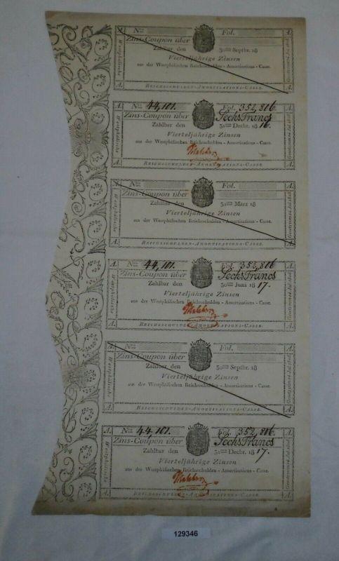 6 Franc Zinsschein Westphälische Reichsschulden Amortisations-Casse 1816 /129346