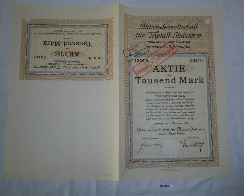 1000 Mark Aktie AG für Metall-Industrie Karlsruhe-Rheinhafen 11.11.1922 (129350)