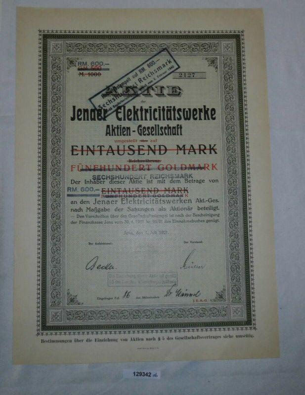 1000 RM 500 Goldmark Aktie Jenaer Elektricitätswerke AG 1. Juli 1921 (129342)