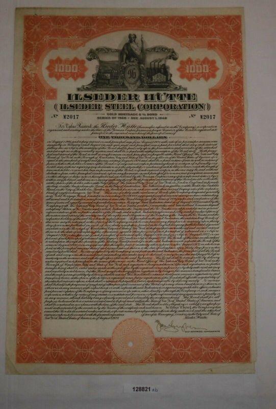 1000 Dollar Aktie Ilseder Hütte (Ilseder Steel Cooperation) August 1928 (128821)