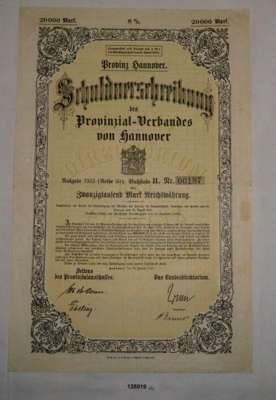 20000 RM Schuldverschreibung Provinzial Verband Hannover 12.Januar 1923 (128819)