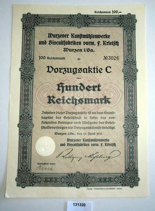 100 Reichsmark Aktie Wurzener Kunstmühlenwerke & Biscuitfabriken 1931 (131320)