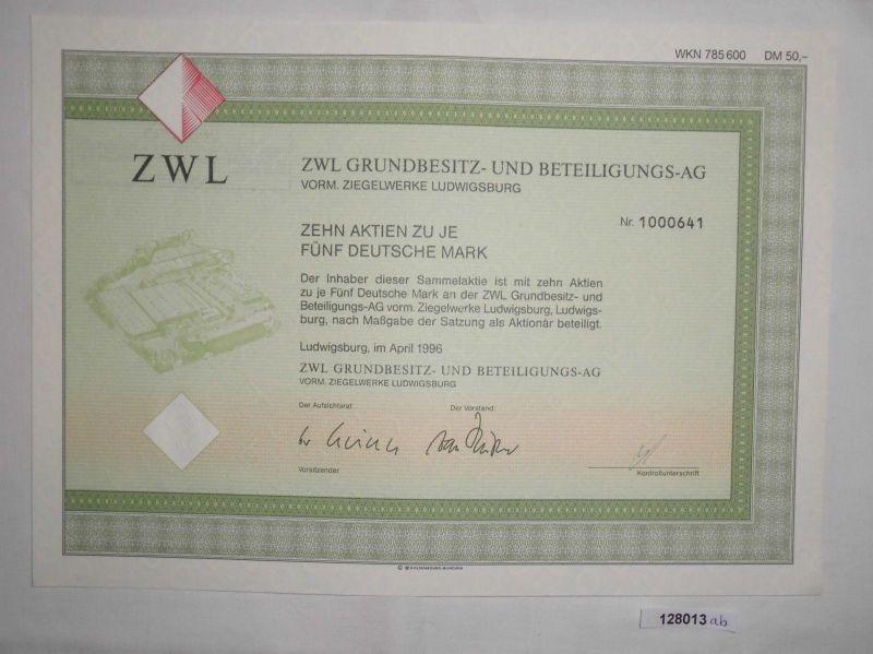 5 Mark Zehn Aktien ZWL Grundbesitz- & Beteiligungs AG Ludwigsburg 1996 (128013)
