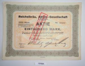1000 Mark Aktie Reichelbräu AG Kulmbach November 1923 (131020)