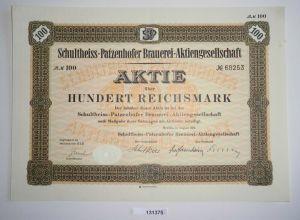 100 Reichsmark Aktie Schultheiss-Patzenhofer Brauerei AG Berlin 1932 (131375)
