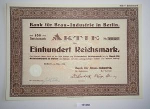 100 Reichsmark Aktie Bank für Brau-Industrie Berlin März 1933 (131458)