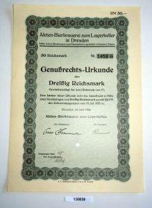 30 RM Genußrechts-Urkunde Aktien-Bierbrauerei zum Lagerkeller Dresden (130839)