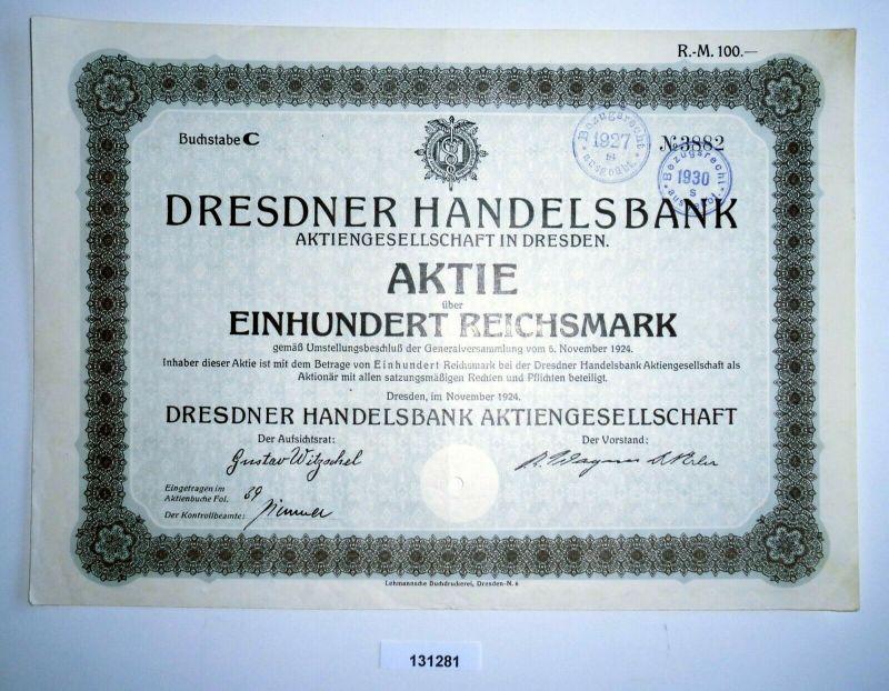 100 Reichsmark Aktie Dresdner Handelsbank AG in Dresden November 1924 (131281)