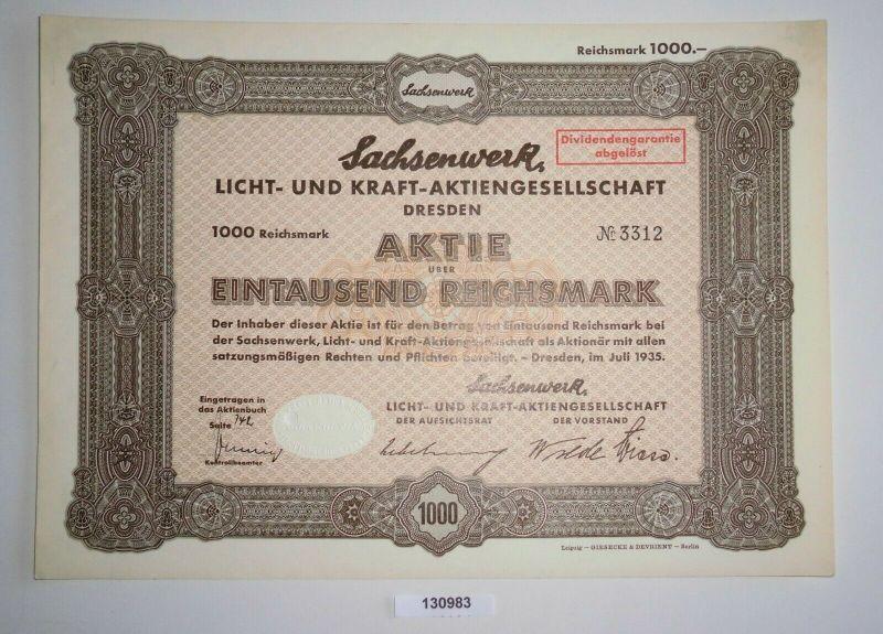 1000 Reichsmark Aktie Sachsenwerk Licht- und Kraft-AG Dresden Juli 1935 (130983)
