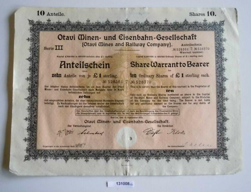 1 Pfund 10 Aktien Otavi Minen-& Eisenbahn-Gesellschaft Berlin 12.9.1921 (131008)
