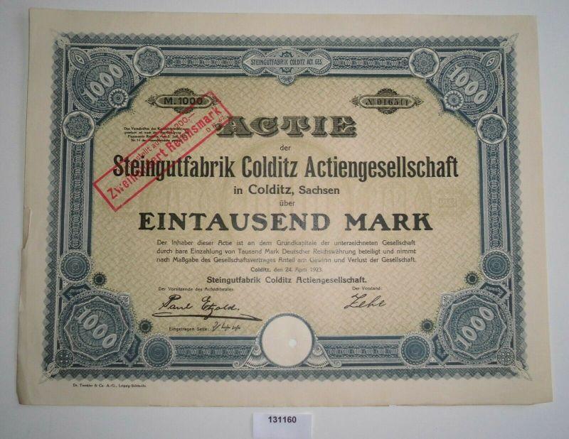 1000 Mark Aktie Steingutfabrik Colditz AG 24. April 1923 (131160)