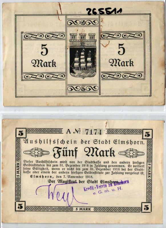 5 Mark Banknote Aushilfsschein der Stadt Elmshorn 7.11.1918 (124040)