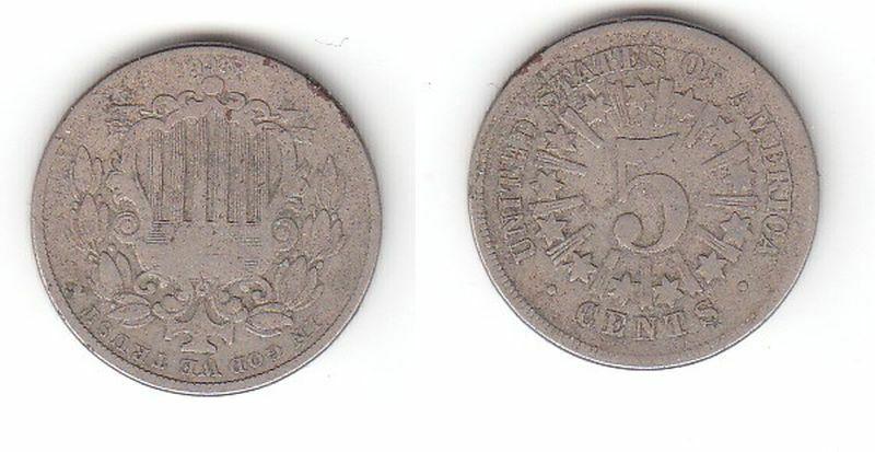 5 Cent Nickel Münze USA 1866 (114909)