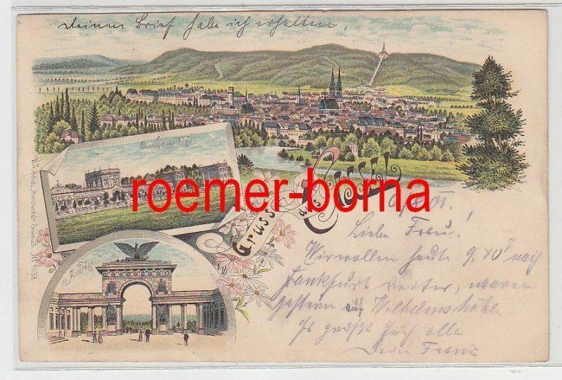77084 Ak Lithografie Gruss aus Cassel Totale, Orangerieschloss, Auethor 1901