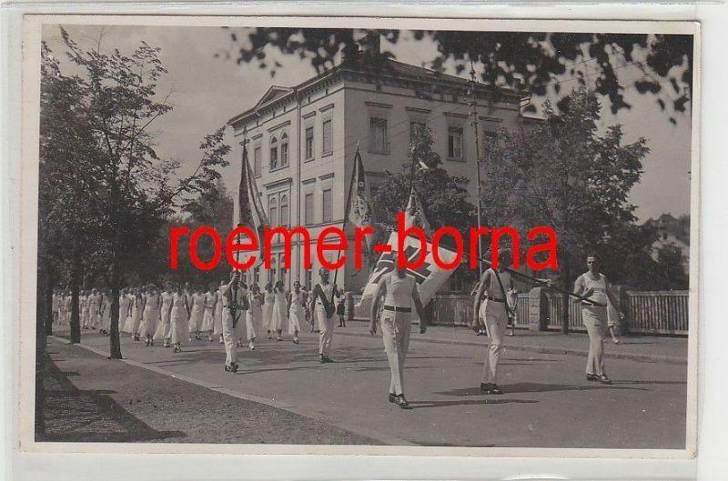 65834 Foto Ak Festumzug Allgemeiner Turnverein Weida um 1920