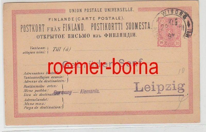 75283 alter Ganzsachen Karte Finnland 10 Penni 1893 nach Leipzig